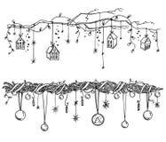 Reeks decoratie van Kerstmis en van het Nieuwjaar Slingers en lichtenvector royalty-vrije illustratie