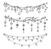Reeks decoratie van Kerstmis en van het Nieuwjaar Slingers en lichtenvector vector illustratie