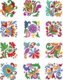 Reeks decoratieve bloemen Stock Afbeelding