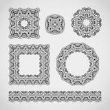 Reeks decoratieve elementen Kanten kaders, patronen en grensornament Vector illustratie Royalty-vrije Stock Afbeeldingen