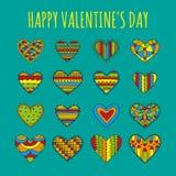 Reeks decoratieve harten met verschillende heldere kleurrijke patronen op een blauwgroene achtergrond Stock Foto