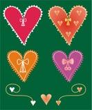 Reeks decoratieve hartvormen Stock Foto's