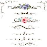 Reeks decoratieve kalligrafische bloemenelementen Uitstekende bloem, verdeler en hoek voor uw ontwerp stock illustratie