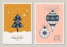 Reeks decoratieve Kerstmiskaarten stock illustratie