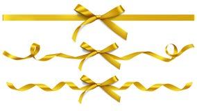 Reeks decoratieve mooie gouden bogen Royalty-vrije Stock Afbeelding