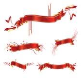 Rode banners en linten Stock Foto