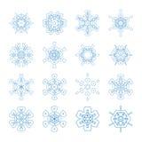 Reeks decoratieve sneeuwvlokken, inzameling van de malplaatjes van het de winterontwerp Stock Afbeelding