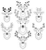 Reeks decoratieve trofeeën van hertenhoofden Stock Afbeelding