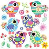 Reeks decoratieve vogels Stock Foto