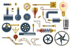 Reeks delen en componenten van het machinemechanisme stock illustratie