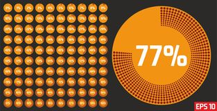 Reeks diagrammen van het cirkelpercentage van 0 tot 100 percenten Het malplaatje van de vooruitgangsbar Percentagediagram dat voo royalty-vrije stock afbeelding