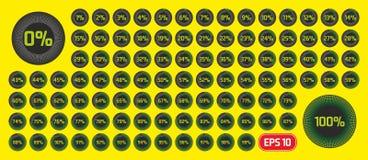 Reeks diagrammen van het cirkelpercentage van 0 tot 100 percenten Het malplaatje van de vooruitgangsbar Percentagediagram voor in vector illustratie
