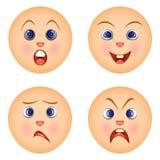 Reeks die emoticons emoties voelen Royalty-vrije Stock Foto's