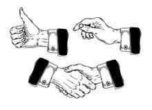 Reeks die handen van pictogrammenmensen diverse gebaren maken Stock Afbeelding