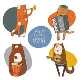 Reeks die pretkatten muzikale instrumenten spelen - trommel, harmonika, buis, gitaar Royalty-vrije Stock Afbeelding