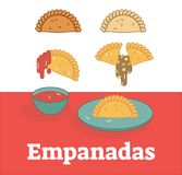 Reeks die van de Empanadas de vectorillustratie het vullen en saus tonen Stock Foto's