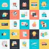 Reeks die vlakke pictogrammen van de ontwerpstijl voor elektronische handel, online winkelen Royalty-vrije Stock Afbeeldingen