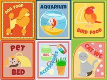 Reeks dieren en toebehoren voor Dierenwinkel Stock Foto
