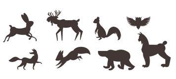 Reeks dieren in vlakke stijl stock illustratie