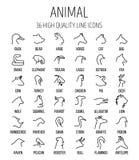 Reeks dierlijke pictogrammen in moderne dunne lijnstijl Stock Foto