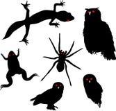 Reeks dierlijke silhouetten Stock Afbeeldingen