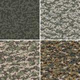 Reeks digitale naadloze camouflagepatronen Stock Afbeelding