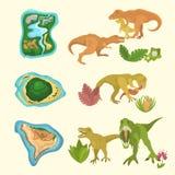 Reeks dinosaurussen met inbegrip van T -t-rex, Brontosaurus, Triceratops, Velociraptor, Allosaurus, voorhistorische eilanden en f stock illustratie