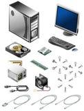 Reeks diverse computerdelen en toebehoren Stock Afbeeldingen