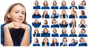 Reeks diverse emotionele beelden van tienermeisje, close-up stock afbeeldingen