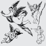 Reeks diverse engelen of cupids stock illustratie