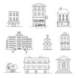 Reeks diverse gebouwen vector illustratie
