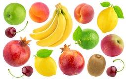 Reeks diverse gehele die vruchten en bessen op witte achtergrond worden geïsoleerd royalty-vrije stock fotografie
