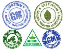 Reeks diverse grungezegels GM en niet-GM Royalty-vrije Stock Afbeelding
