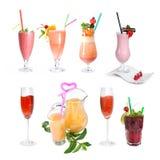 Reeks diverse koude cocktails Royalty-vrije Stock Afbeelding