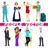 Reeks diverse mensenkarakters royalty-vrije illustratie