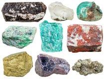 Reeks diverse minerale geïsoleerde rotsen en stenen Royalty-vrije Stock Foto