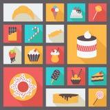 Reeks diverse snoepjes voor restaurant en menu Royalty-vrije Stock Afbeelding