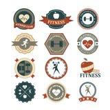 Reeks diverse sporten en fitness grafiek en pictogrammen Stock Foto