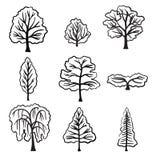 Reeks diverse types van hand getrokken bomen Stock Foto