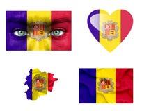 Reeks diverse vlaggen van Andorra royalty-vrije illustratie