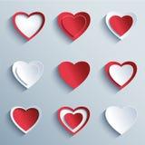 Reeks document harten, ontwerpelementen voor Valentijnskaartendag Royalty-vrije Stock Afbeelding