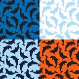 Reeks Dolfijnenpatronen Stock Afbeeldingen