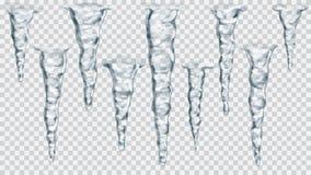 Reeks doorzichtige ijskegels royalty-vrije illustratie