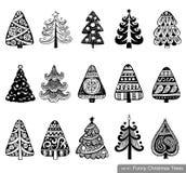 Reeks Dreawn-Kerstbomen Stock Afbeeldingen