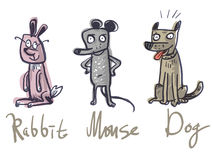 Reeks Drie dieren Konijn, Muis en Hond stock illustratie
