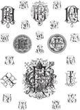 Reeks drie van het monogram Royalty-vrije Stock Foto