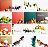 Reeks driehoeks geometrische abstracte achtergronden Stock Foto's