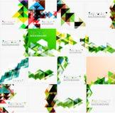 Reeks driehoeks geometrische abstracte achtergronden Royalty-vrije Stock Foto