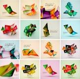 Reeks driehoeks geometrische 3d vormen Moderne informatie Royalty-vrije Stock Fotografie