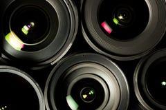 Reeks DSLR-lenzen, verschillende grootte en Stock Foto